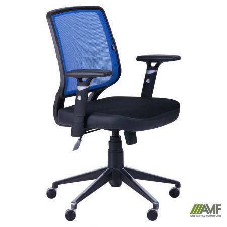 Кресло Онлайн Алюм сиденье Сетка черная/спинка Сетка синяя, фото 2