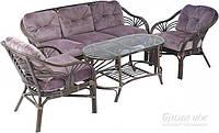 Комплект мягкой садовой мебели натуральный ротанг (2 кресла,столик и большой диван )