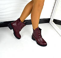Демисезонные ботинки Hermes БОЛТЫ натуральная кожа, внутри байка. Цвет марсала