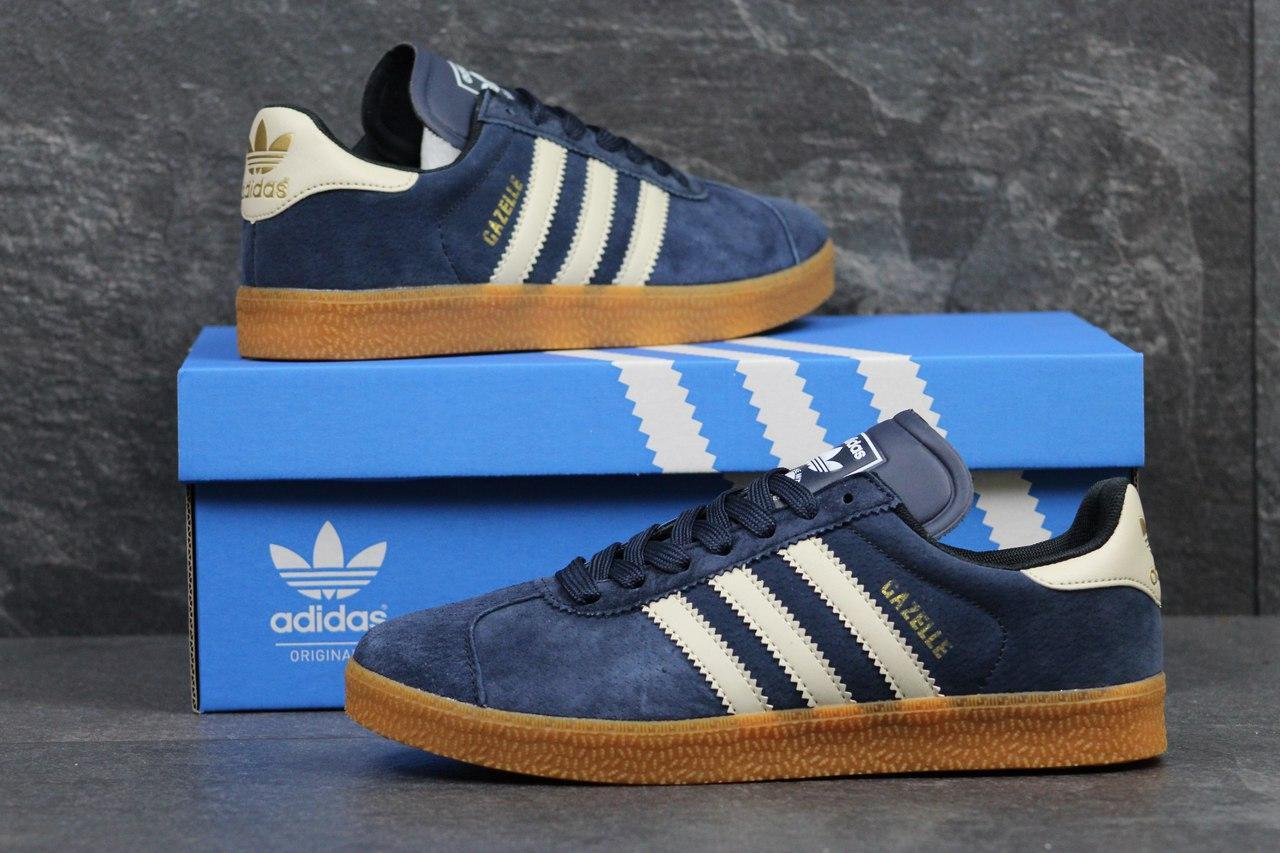 Кроссовки Adidas Gazelle замшевые,темно синие с белым 44,46р