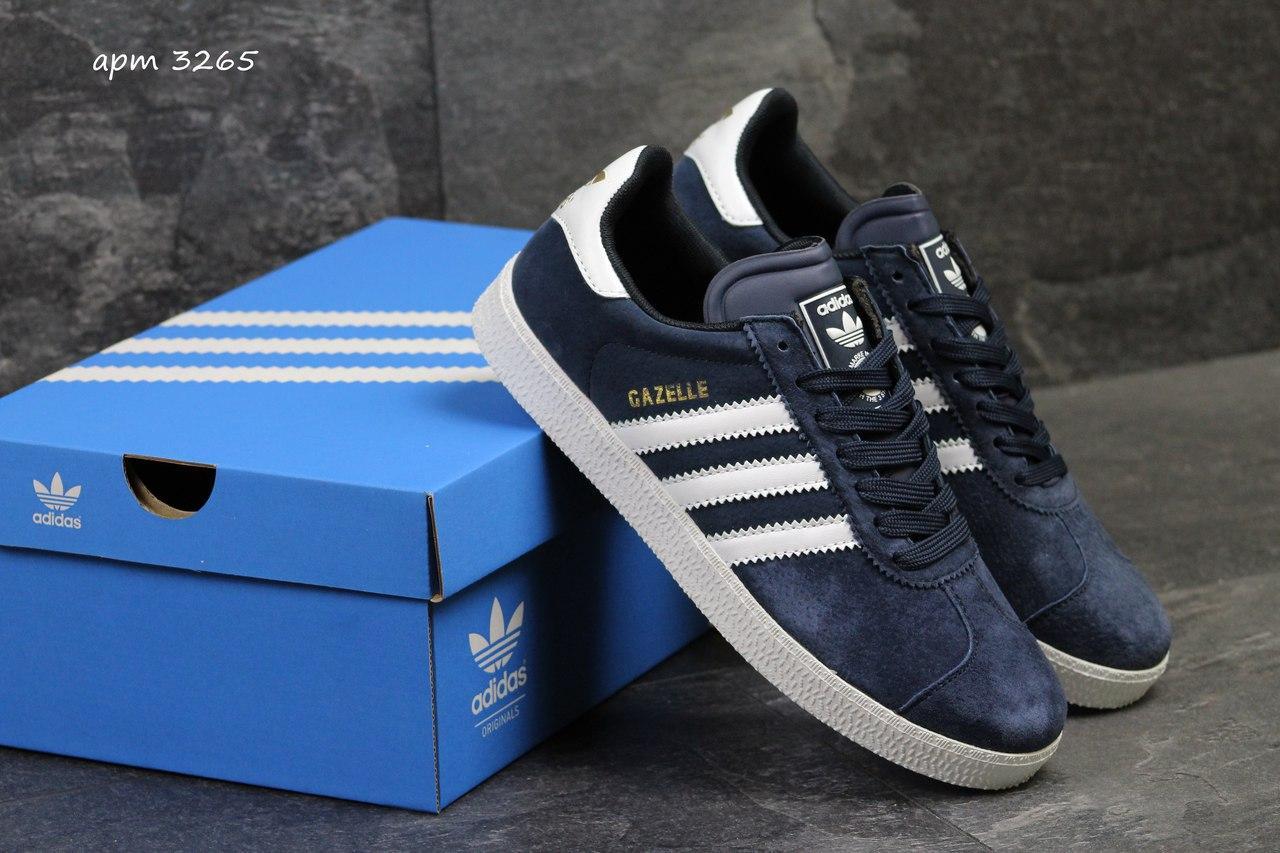 Кроссовки Adidas Gazelle замшевые,темно синие с белым