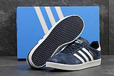 Кроссовки Adidas Gazelle замшевые,темно синие с белым, фото 3