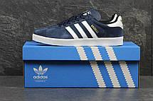 Кроссовки Adidas Gazelle замшевые,темно синие с белым, фото 2