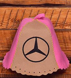 """Шапка для бани и сауны Комбо """"Mercedes"""" Коричнево-Розовый"""