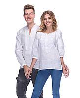 """Комплект вышиванок для пары """"белым по белому"""" из льна, фото 1"""