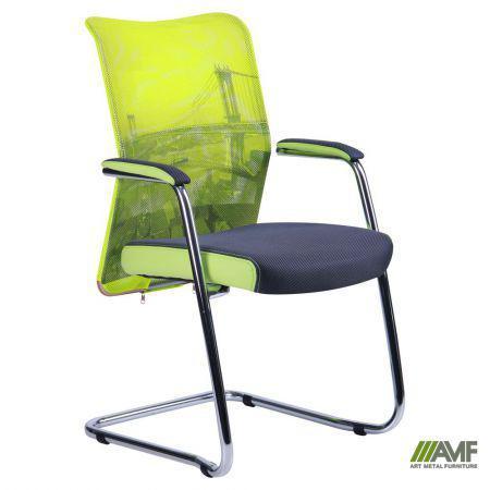 Кресло Аэро CF хром сиденье Сетка серая, Zeus 047 Light Green/спинка Сетка лайм-Brooklyn Bridge