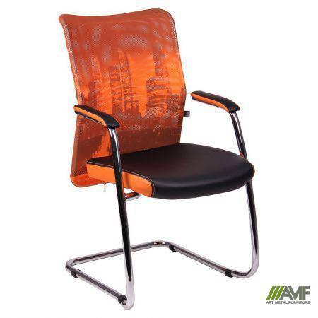 Кресло Аэро CF хром сиденье Сетка черная, Zeus 045 Orange/спинка Сетка оранж-Skyline, фото 2