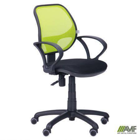 Кресло Байт/АМФ-4 сиденье Сетка черная/спинка Сетка лайм, фото 2