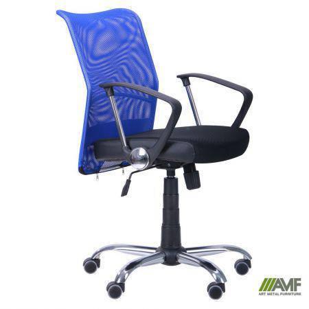 Кресло АЭРО LB сиденье Сетка черная, Неаполь N-20/спинка Сетка синяя, фото 2