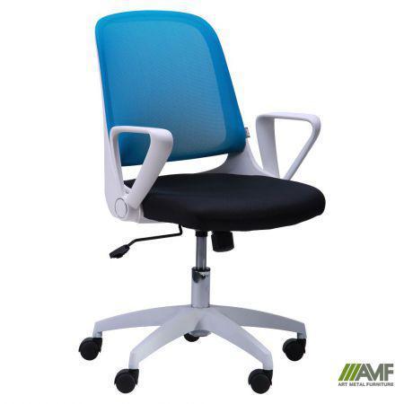 Кресло Виреон белый/сетка голубая (W-158B)