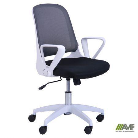 Кресло Виреон белый/сетка серая (W-158B)