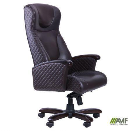 Кресло Галант Элит MB Орех Кожа Люкс комбинированная Темно-коричневая