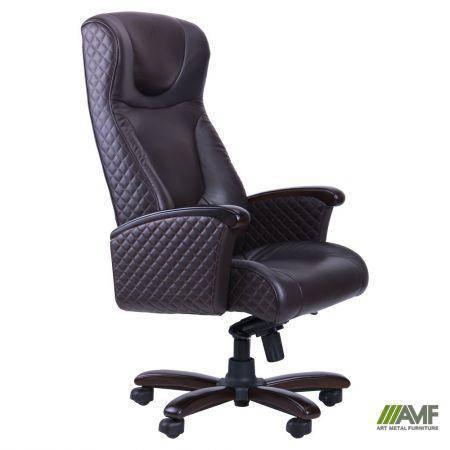 Кресло Галант Элит MB Орех Кожа Люкс комбинированная Темно-коричневая, фото 2