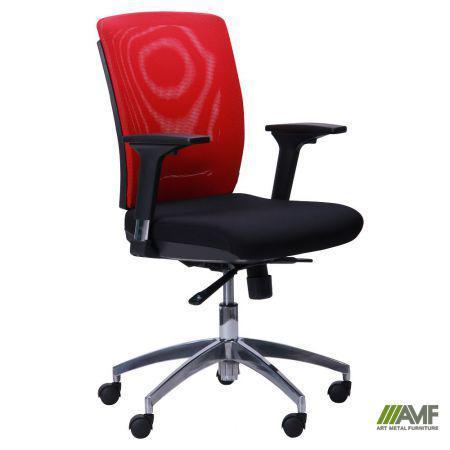 Кресло Канари чёрный/сетка красная (X-7)