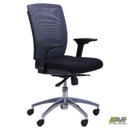 Кресло Канари чёрный/сетка серая (X-7)