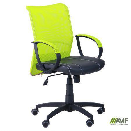 Кресло Лайт Net LB Софт АМФ-8 Неаполь N-20 нитка белая/спинка Сетка лайм нитка белая