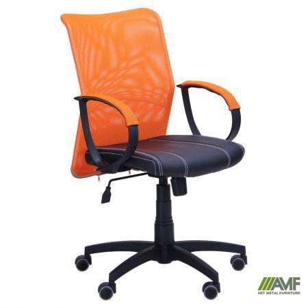 Кресло Лайт Net LB Софт АМФ-8 Неаполь N-20 нитка белая/спинка Сетка Оранжевая нитка белая