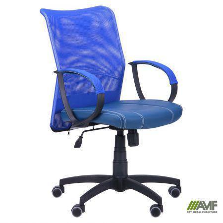 Кресло Лайт Net LB Софт АМФ-8 Неаполь N-22 нитка белая/спинка Сетка синяя нитка белая, фото 2