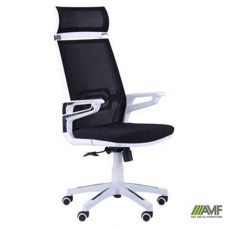 Кресло Tesla сетка черная, каркас белый, фото 2