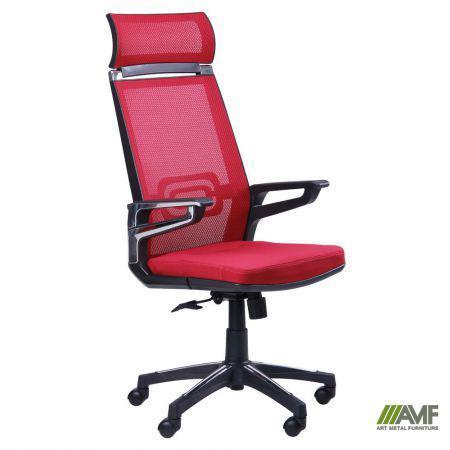 Кресло Tesla сетка красная, каркас черный