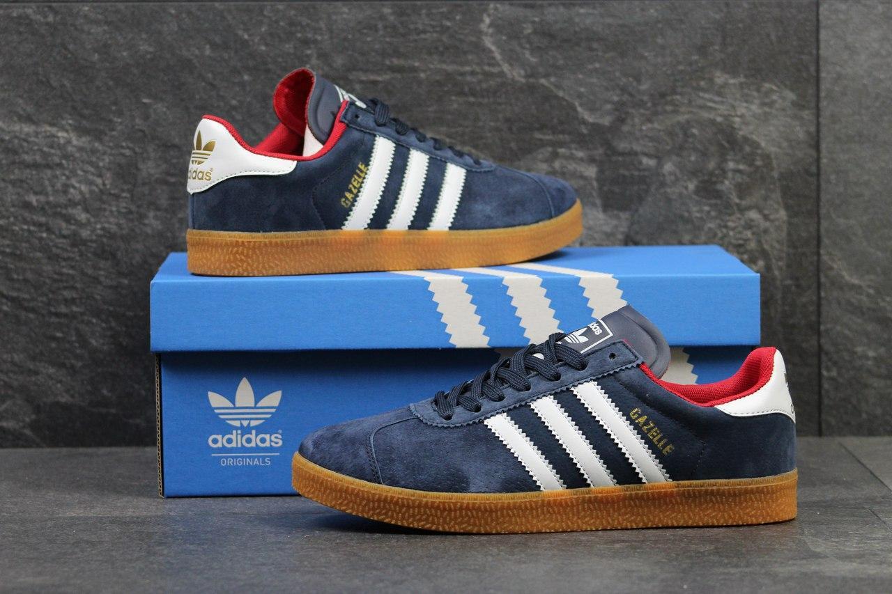 95e38fd0fdd5d6 Кроссовки Adidas Gazelle замшевые,темно синие с красным - Интернет-магазин  Дом Обуви в