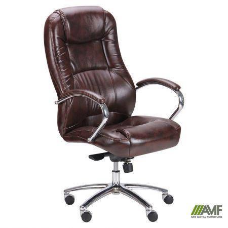 Кресло Мустанг MB Хром Мадрас дк браун, вставка Мадрас дк браун перфорированный, фото 2
