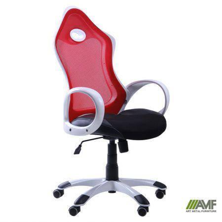 Кресло Матрикс-1 Белый, сиденье Сетка черная/спинка Сетка красная, фото 2