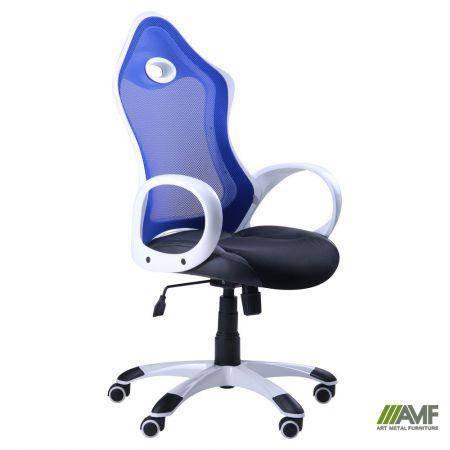 Кресло Матрикс-1 Белый, сиденье Сетка черная/спинка Сетка синяя, фото 2