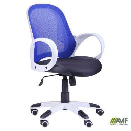 Кресло Матрикс-LB Белый, сиденье Сетка черная/спинка Сетка синяя, фото 2
