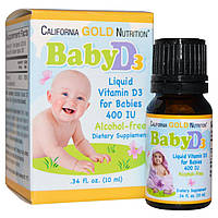 Витамин Д-3 (для детей) Baby D3, 400 МЕ, California Gold Nutrition, 10