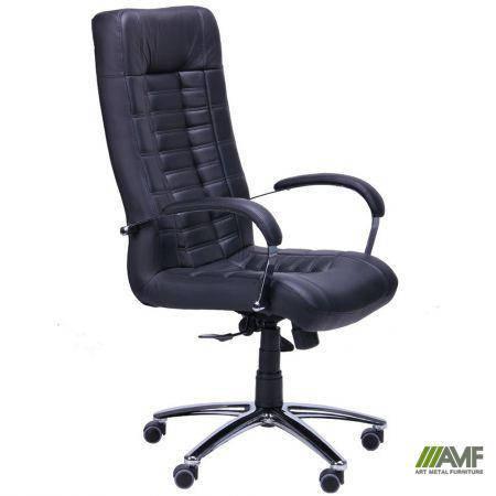 Кресло Парис Хром Кожа Люкс комбинированная Черная, фото 2