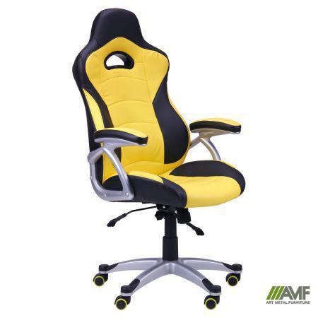 Кресло Форсаж №1 (1712) к/з PU черный/желтые вставки