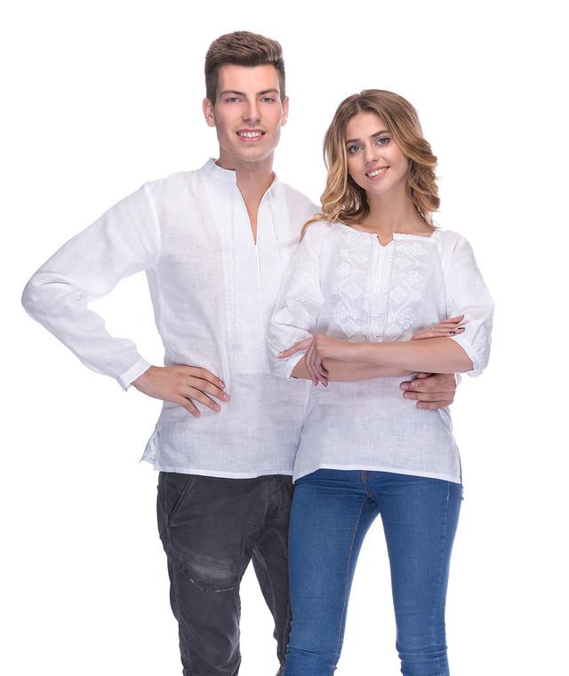 Вышиванки для пары белым по белому