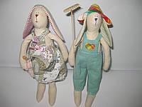 Игрушка Тильда Заяц фермер и Зайка с зонтиком, фото 1
