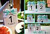 Номер односторонний на свадебный стол с бирюзовой лентой (двойной бант)