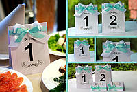Номер односторонний на свадебный стол с бирюзовой лентой