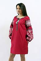 """Женское вышитое платье """"РОЗКІШ"""" ВИННЕ размера  42,  44, 46, 48, 50, 52, 54, 56  в этническом стиле"""