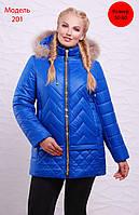 Зимняя женская куртка из водоотталкивающей ткани, капюшон съемный, мех натуральный, цвет электрик
