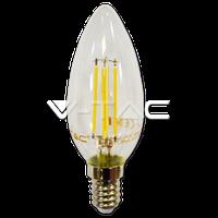 """Світлодіодна  лампа V-TAC 4Вт филамент Е14 6000К """"свічка"""" проз.скло"""