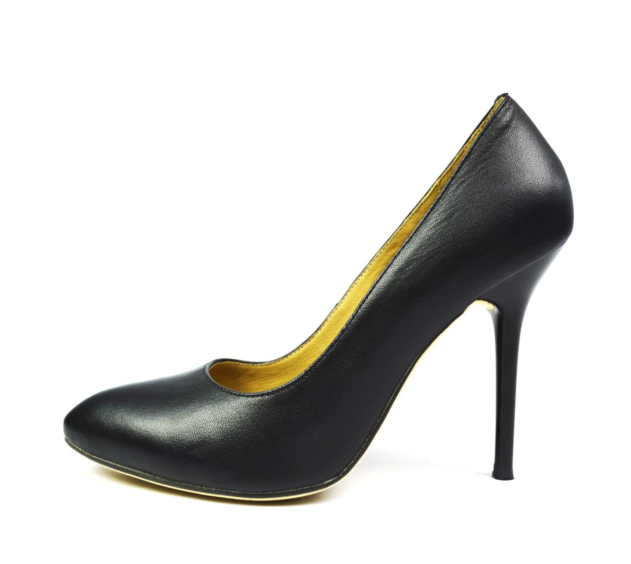 Черные туфли лодочки женские кожаные ANNA LUCCI на шпильке