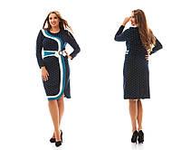 Женское модное платье MIDI больших размеров с имитацией запаха №937 (р. 48-62)