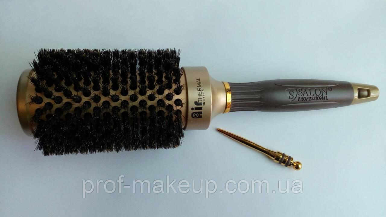 """Расческа - Брашинг """"Salon Professional"""",керамика,с натуральным ворсом,диаметром 45 мм"""