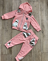 Костюм детский модный нежно розовый с кожей