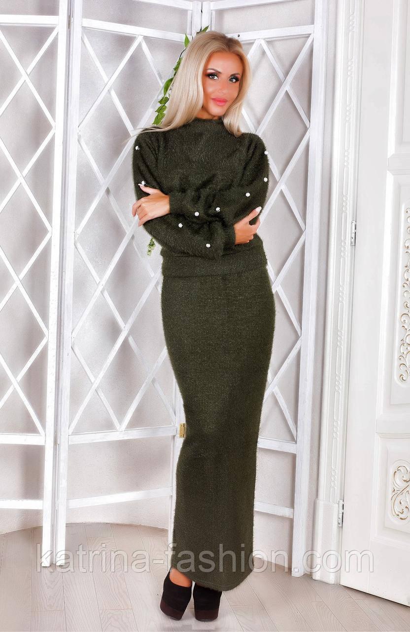 Костюм женский стильный теплый из ангоры вязки (3 цвета)