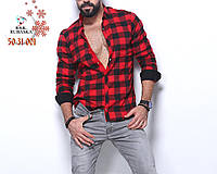 Качественная мужская рубашка в клетку на байке с чорными манжетами