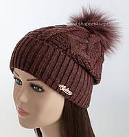 Женская шапка с отворотом и песцовым помпоном Бамбук