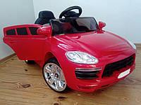 Детский электромобиль M 1343-2 Porshe с кожаным сиденьем, красный