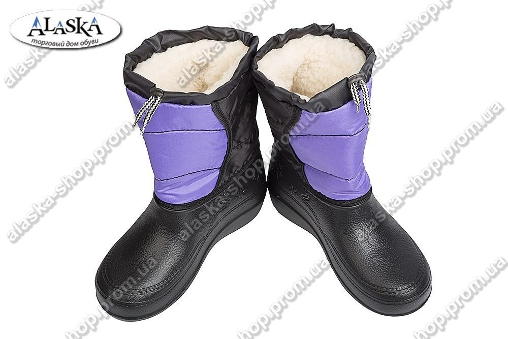 Женские сапоги фиолетовые (Код: ТС шнурок)
