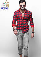 Модная мужская рубашка на байке в красно-серую клетку