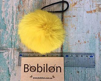 Меховые помпоны из меха кролика, цвет желтый